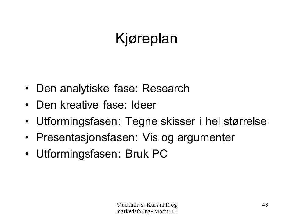 Studentlivs - Kurs i PR og markedsføring - Modul 15 48 Kjøreplan •Den analytiske fase: Research •Den kreative fase: Ideer •Utformingsfasen: Tegne skis