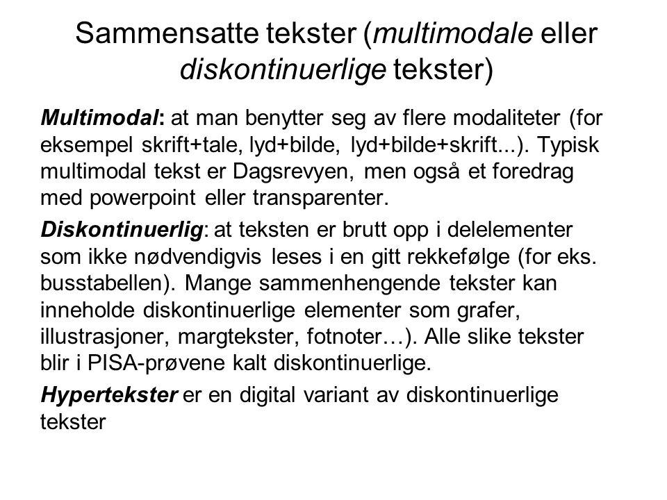 Sammensatte tekster (multimodale eller diskontinuerlige tekster) Multimodal: at man benytter seg av flere modaliteter (for eksempel skrift+tale, lyd+bilde, lyd+bilde+skrift...).