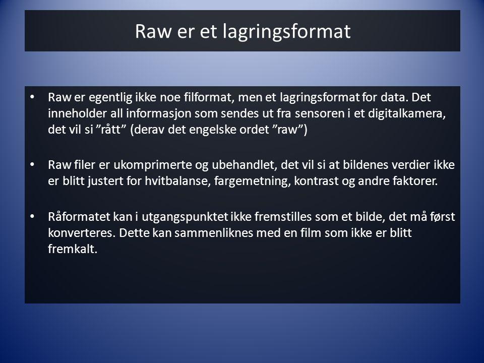 Raw er et lagringsformat • Raw er egentlig ikke noe filformat, men et lagringsformat for data. Det inneholder all informasjon som sendes ut fra sensor