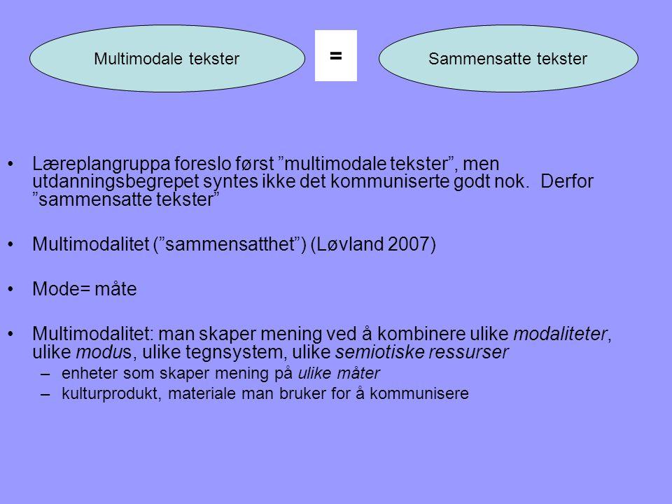 """•Læreplangruppa foreslo først """"multimodale tekster"""", men utdanningsbegrepet syntes ikke det kommuniserte godt nok. Derfor """"sammensatte tekster"""" •Multi"""