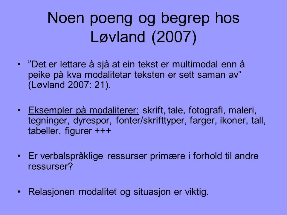 """Noen poeng og begrep hos Løvland (2007) •""""Det er lettare å sjå at ein tekst er multimodal enn å peike på kva modalitetar teksten er sett saman av"""" (Lø"""
