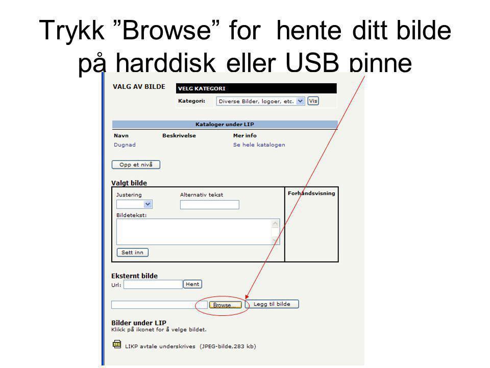 Trykk Browse for hente ditt bilde på harddisk eller USB pinne