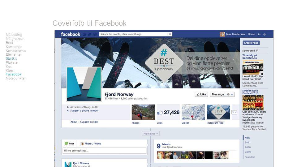 www.fjordnorway.com/bestof Målsetting Målgrupper Brief Kampanje Konkurranse Elementer Startkit Plakater Kort Klær Facebook Møtepunkter Coverfoto til Facebook