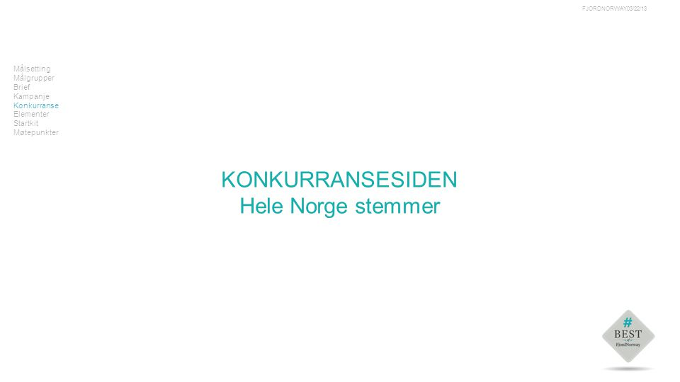 Tekst Målsetting Målgrupper Brief Kampanje Konkurranse Elementer Startkit Møtepunkter KONKURRANSESIDEN Hele Norge stemmer 03/22/13FJORDNORWAY