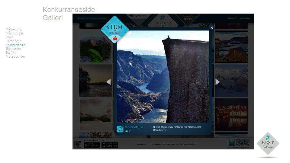 Målsetting Målgrupper Brief Kampanje Konkurranse Elementer Startkit Møtepunkter Konkurranseside Galleri