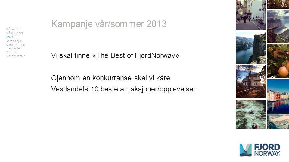 Vi skal finne «The Best of FjordNorway» Gjennom en konkurranse skal vi kåre Vestlandets 10 beste attraksjoner/opplevelser Kampanje vår/sommer 2013 Målsetting Målgrupper Brief Kampanje Konkurranse Elementer Startkit Møtepunkter 03/22/13FJORDNORWAY