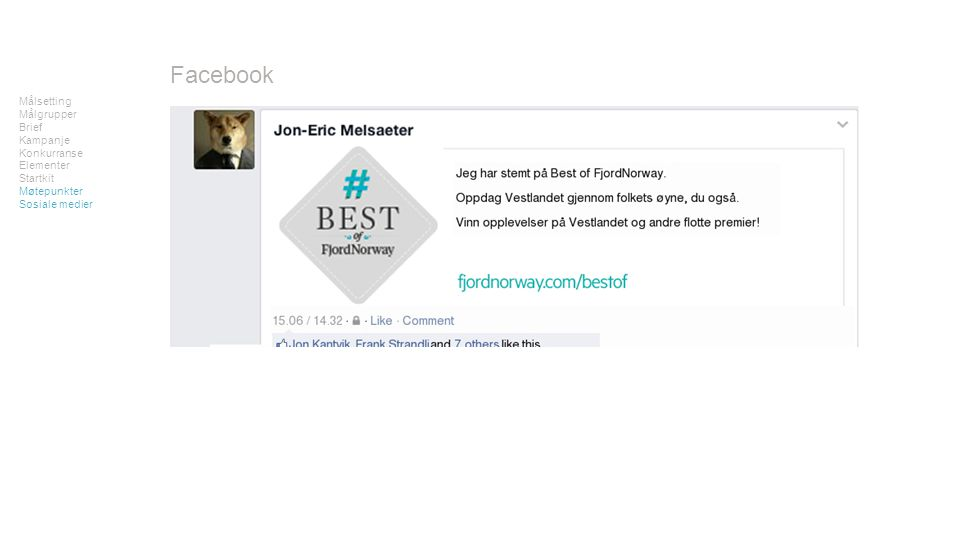Målsetting Målgrupper Brief Kampanje Konkurranse Elementer Startkit Møtepunkter Sosiale medier Facebook