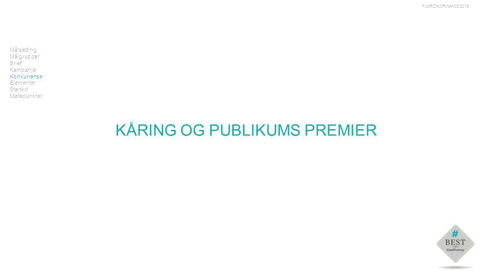 Tekst Målsetting Målgrupper Brief Kampanje Konkurranse Elementer Startkit Møtepunkter KÅRING OG PUBLIKUMS PREMIER 03/22/13FJORDNORWAY