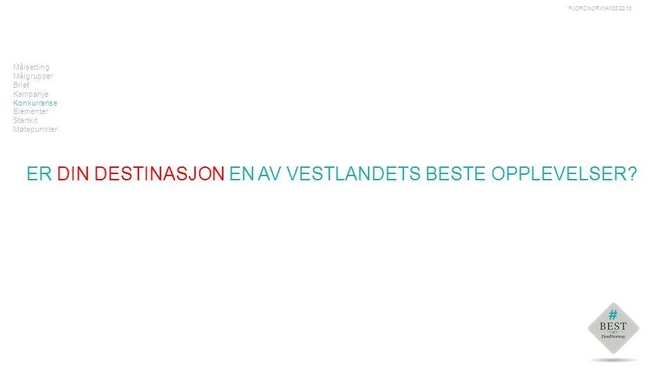 Tekst Målsetting Målgrupper Brief Kampanje Konkurranse Elementer Startkit Møtepunkter ER DIN DESTINASJON EN AV VESTLANDETS BESTE OPPLEVELSER.