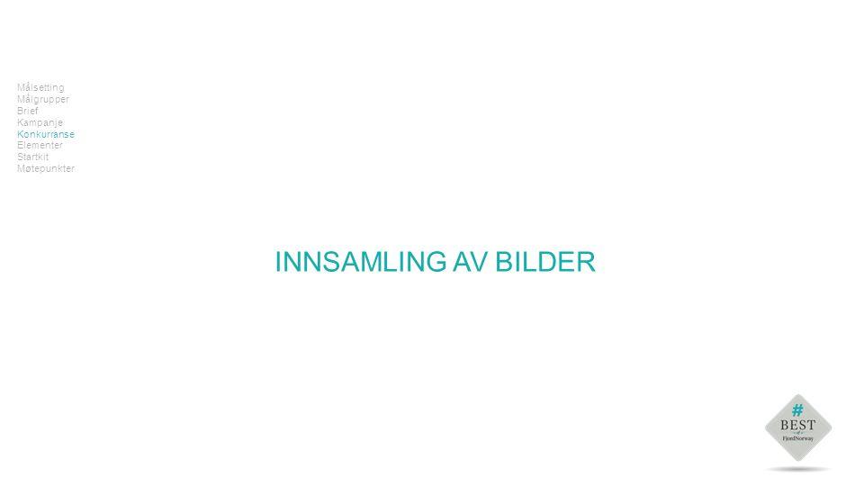 Tekst Målsetting Målgrupper Brief Kampanje Konkurranse Elementer Startkit Møtepunkter INNSAMLING AV BILDER