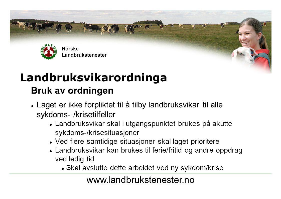 www.landbrukstenester.no Norske Landbrukstenester Landbruksvikarordninga Økonomi  Tilskudd pr.