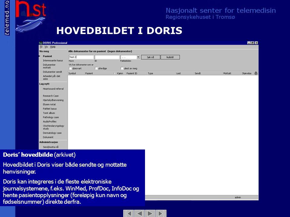 Doris' hovedbilde (arkivet) Hovedbildet i Doris viser både sendte og mottatte henvisninger. Doris kan integreres i de fleste elektroniske journalsyste