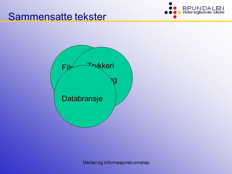 Medier og informasjonskunnskap Sammensatte tekster Most current media will die and be replaced by an integrated Web medium in 5 to 10 years.