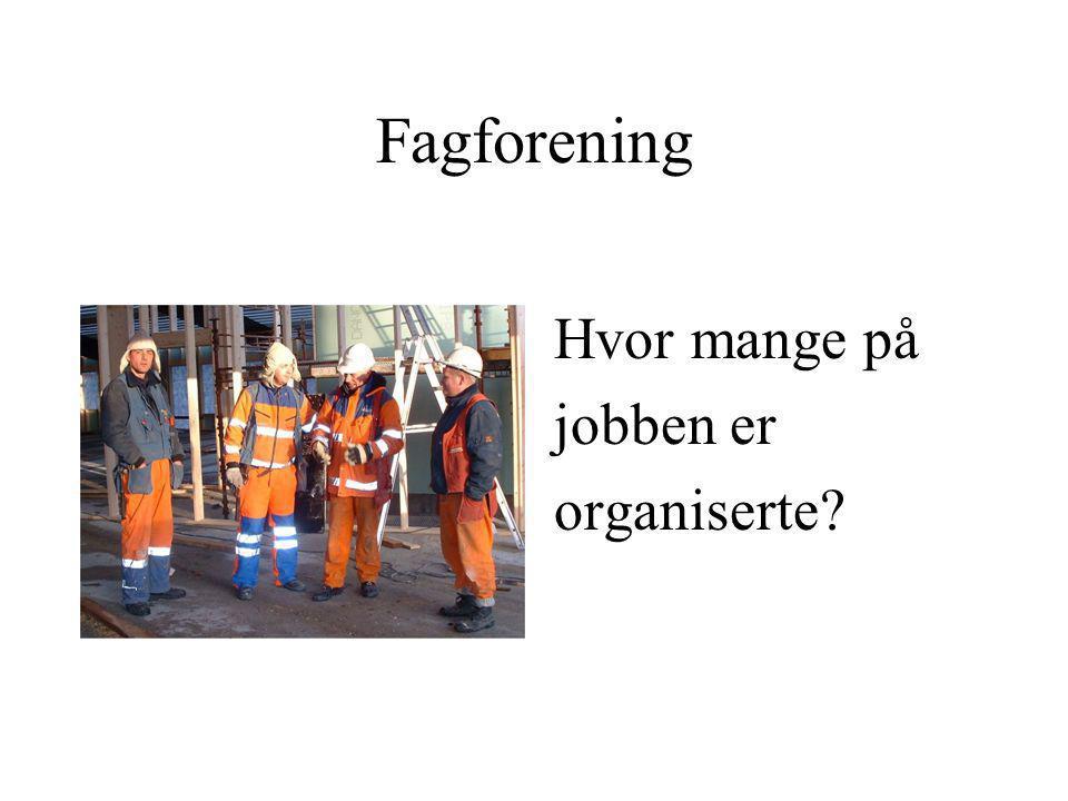 Fagforening Hvor mange på jobben er organiserte?