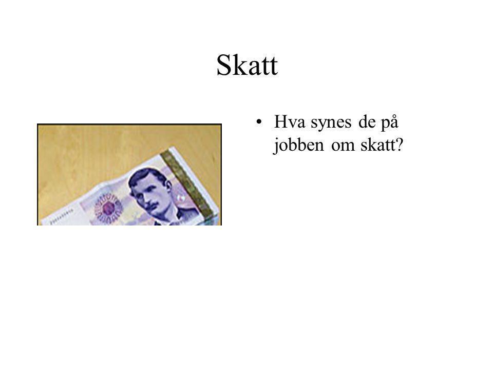 Skatt •Hva synes de på jobben om skatt?