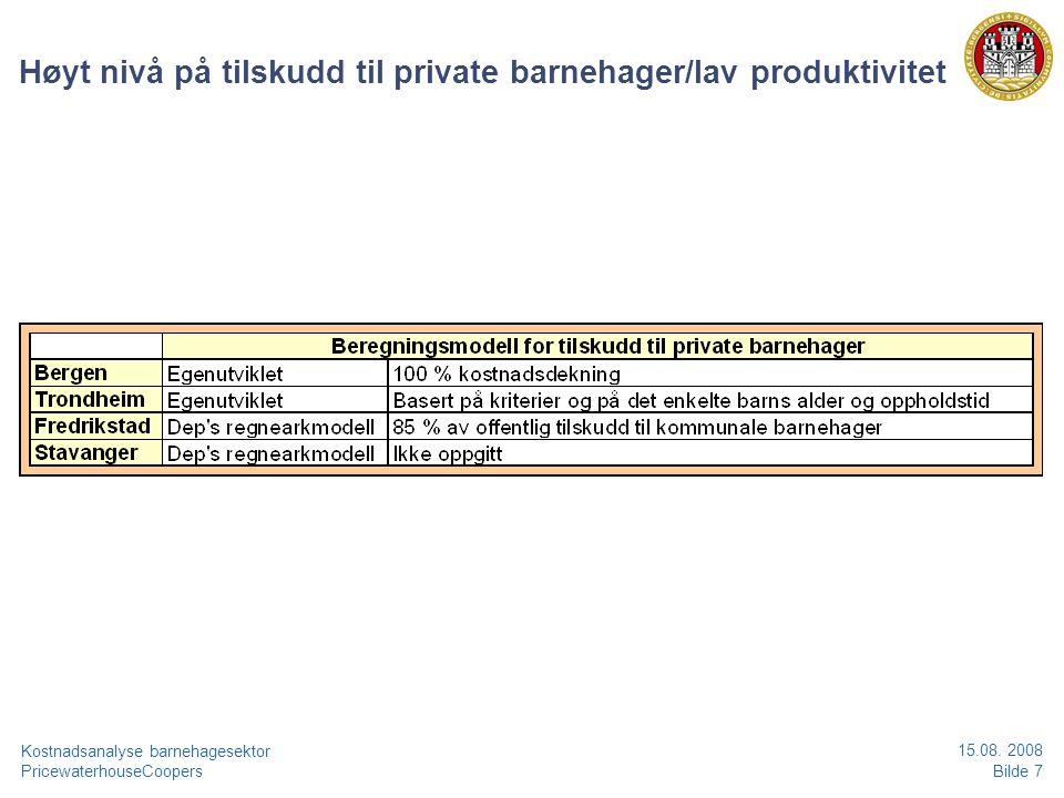 PricewaterhouseCoopersBilde 8 Kostnadsanalyse barnehagesektor 15.08.