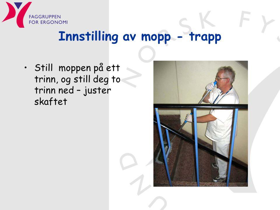 Innstilling av mopp - trapp •Still moppen på ett trinn, og still deg to trinn ned – juster skaftet