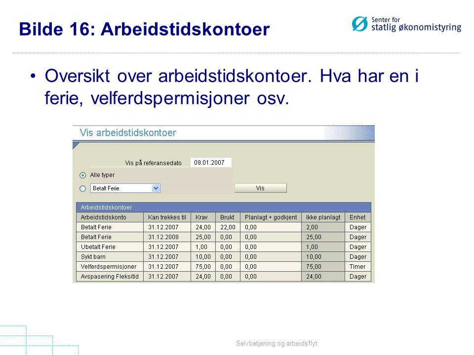 Selvbetjening og arbeidsflyt Bilde 16: Arbeidstidskontoer •Oversikt over arbeidstidskontoer.