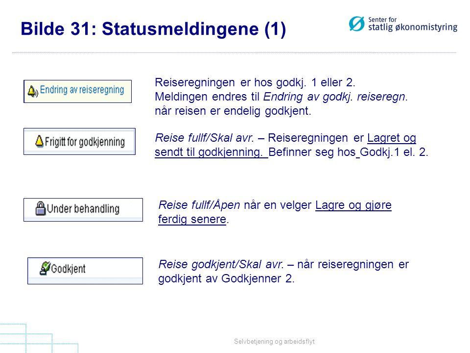 Selvbetjening og arbeidsflyt Bilde 31: Statusmeldingene (1) Reiseregningen er hos godkj. 1 eller 2. Meldingen endres til Endring av godkj. reiseregn.