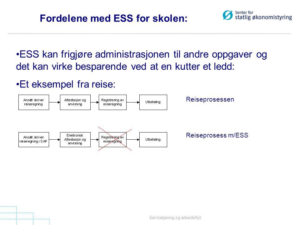 Selvbetjening og arbeidsflyt Fordelene med ESS for skolen: •ESS kan frigjøre administrasjonen til andre oppgaver og det kan virke besparende ved at en