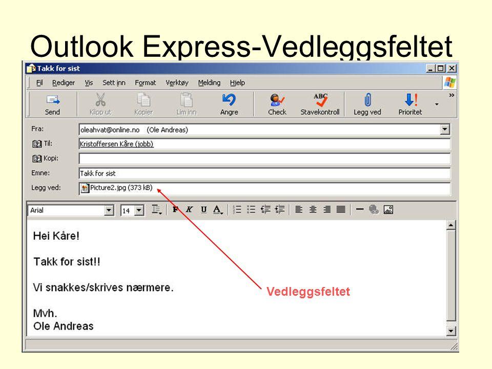 Outlook Express-Vedleggsfeltet Vedleggsfeltet