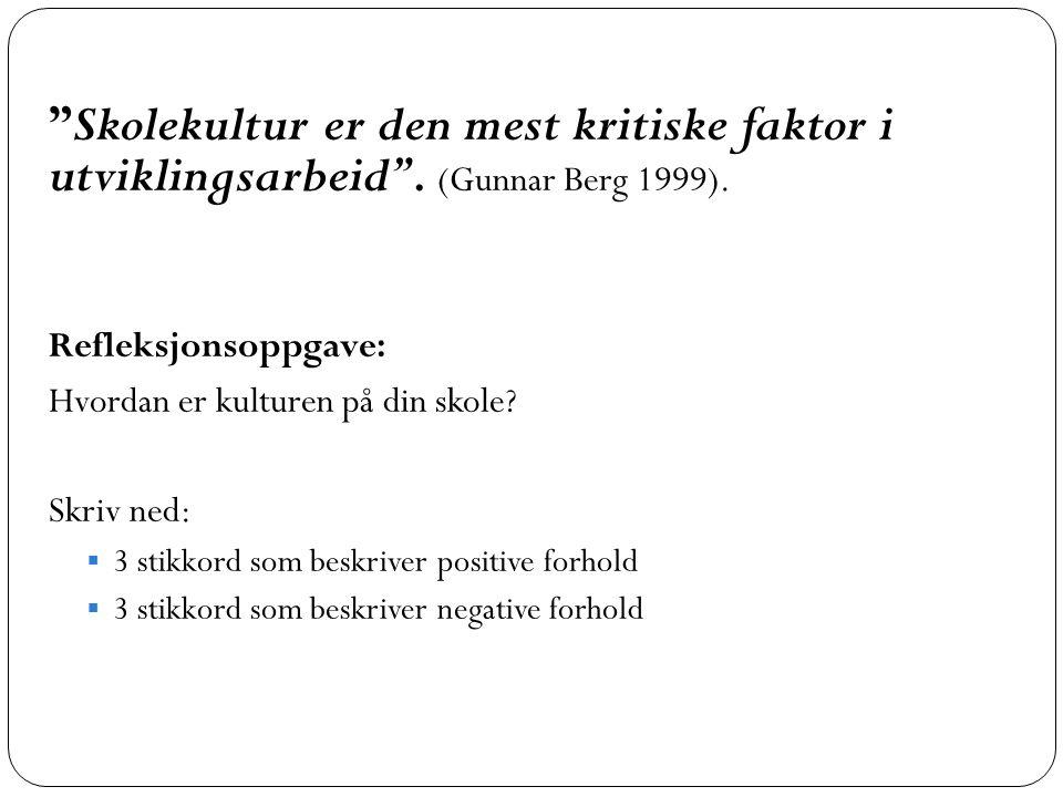 """""""Skolekultur er den mest kritiske faktor i utviklingsarbeid"""". (Gunnar Berg 1999). Refleksjonsoppgave: Hvordan er kulturen på din skole? Skriv ned:  3"""