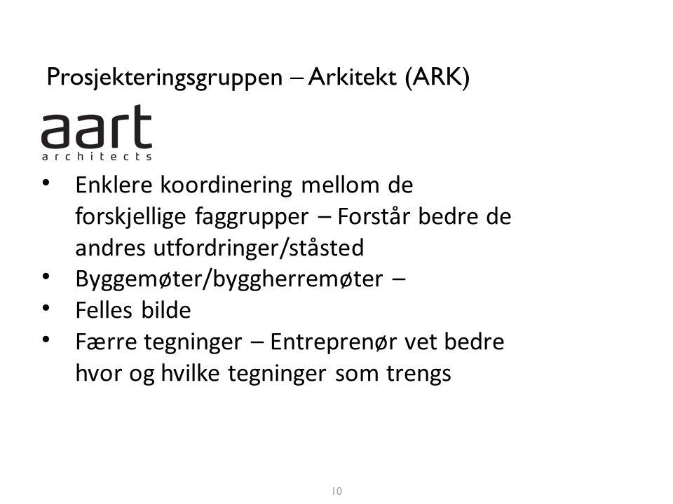 Prosjekteringsgruppen – Arkitekt (ARK) 10 NCC Construction AS • Enklere koordinering mellom de forskjellige faggrupper – Forstår bedre de andres utfor