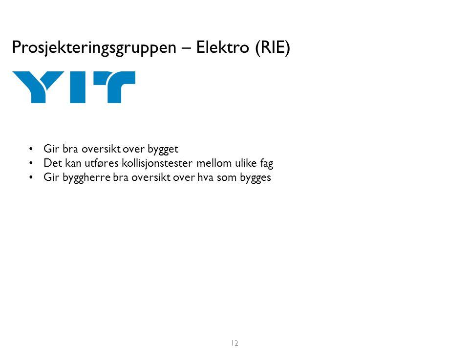 Prosjekteringsgruppen – Elektro (RIE) • Gir bra oversikt over bygget • Det kan utføres kollisjonstester mellom ulike fag • Gir byggherre bra oversikt
