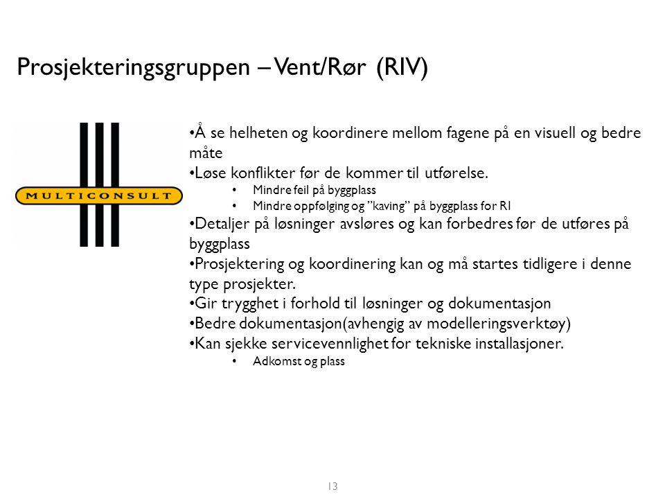 Prosjekteringsgruppen – Vent/Rør (RIV) • Å se helheten og koordinere mellom fagene på en visuell og bedre måte • Løse konflikter før de kommer til utførelse.
