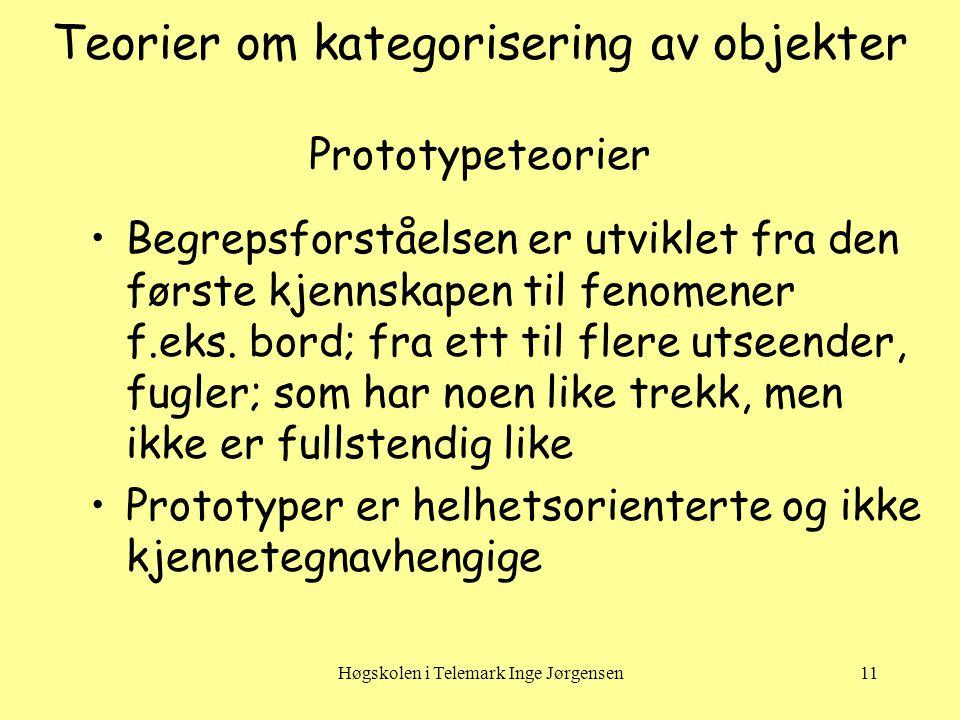 Høgskolen i Telemark Inge Jørgensen11 Teorier om kategorisering av objekter Prototypeteorier •Begrepsforståelsen er utviklet fra den første kjennskapen til fenomener f.eks.