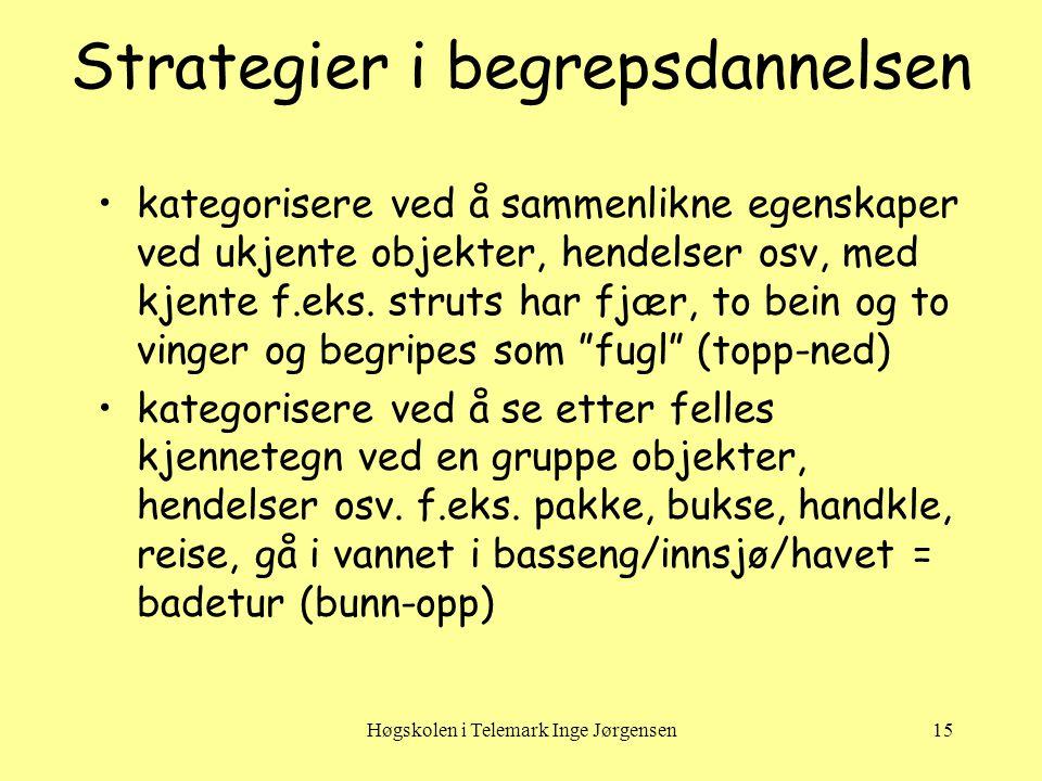 Høgskolen i Telemark Inge Jørgensen15 Strategier i begrepsdannelsen •kategorisere ved å sammenlikne egenskaper ved ukjente objekter, hendelser osv, med kjente f.eks.
