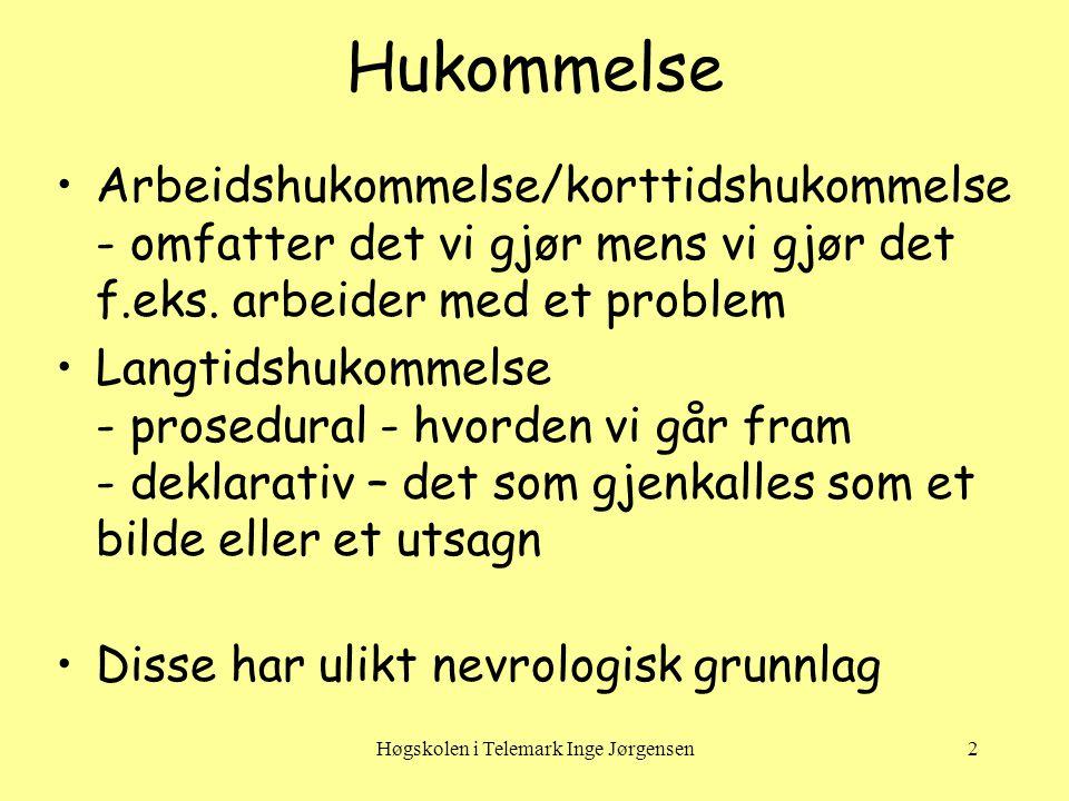Høgskolen i Telemark Inge Jørgensen3 Arbeidshukommelse •Arbeidshukommelse/korttidshukommelse Vanlig å måle ved at en gjengir et antall tallsifre i korrekt rekkefølge: voksne 7±2, 2- åring 2, 5-åring 4, en 7-åring 5 - hva med telefonnummer.