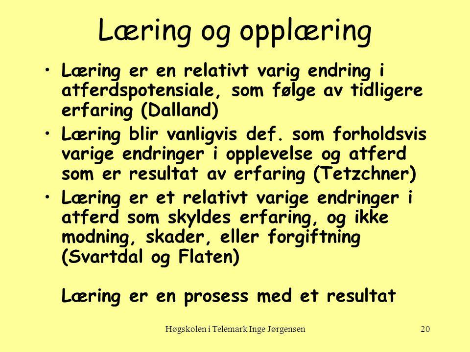Høgskolen i Telemark Inge Jørgensen20 Læring og opplæring •Læring er en relativt varig endring i atferdspotensiale, som følge av tidligere erfaring (Dalland) •Læring blir vanligvis def.
