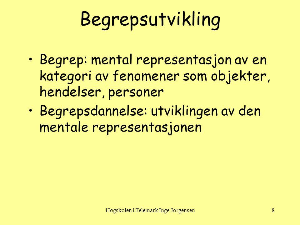 Høgskolen i Telemark Inge Jørgensen8 Begrepsutvikling •Begrep: mental representasjon av en kategori av fenomener som objekter, hendelser, personer •Begrepsdannelse: utviklingen av den mentale representasjonen