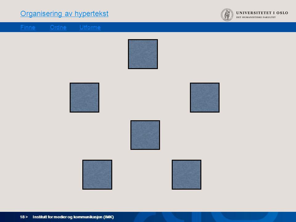 18 > Organisering av hypertekst FinneOrdneUtforme Institutt for medier og kommunikasjon (IMK)