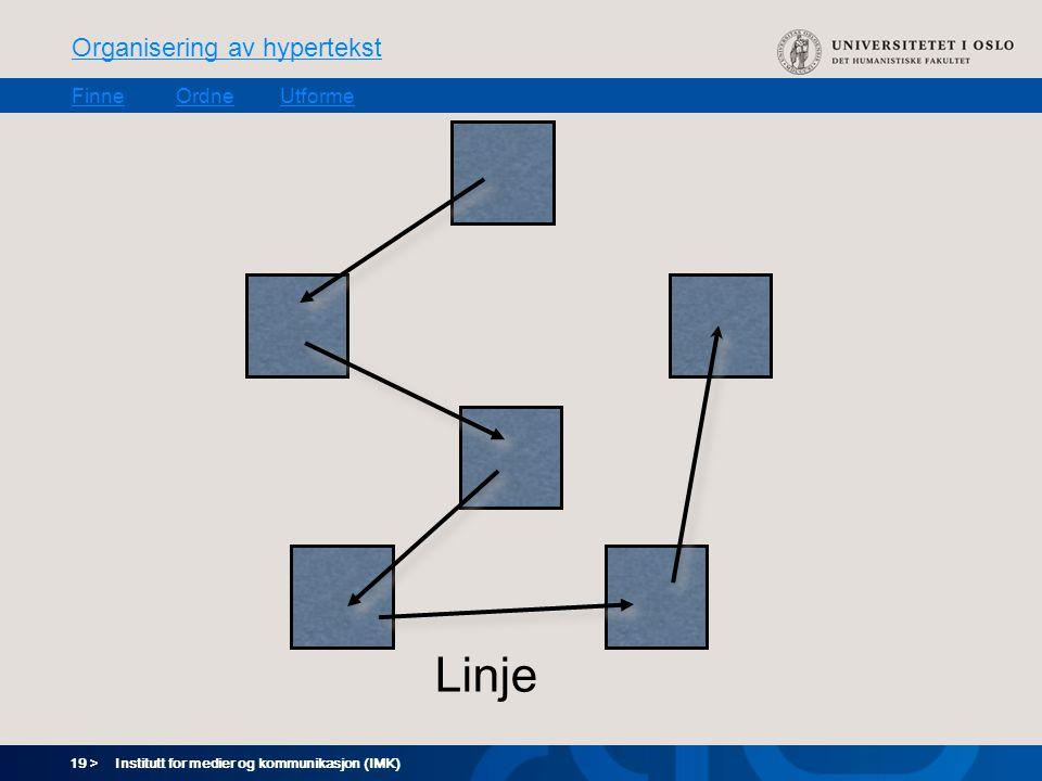 19 > Organisering av hypertekst FinneOrdneUtforme Institutt for medier og kommunikasjon (IMK) Linje