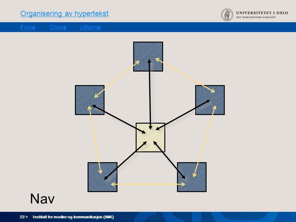 22 > Organisering av hypertekst FinneOrdneUtforme Institutt for medier og kommunikasjon (IMK) Nav