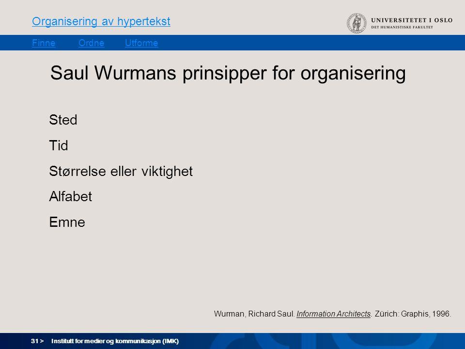 31 > Organisering av hypertekst FinneOrdneUtforme Institutt for medier og kommunikasjon (IMK) Saul Wurmans prinsipper for organisering Sted Tid Størrelse eller viktighet Alfabet Emne Wurman, Richard Saul.