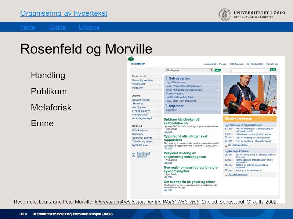 32 > Organisering av hypertekst FinneOrdneUtforme Institutt for medier og kommunikasjon (IMK) Rosenfeld og Morville Handling Publikum Metaforisk Emne Rosenfeld, Louis, and Peter Morville.