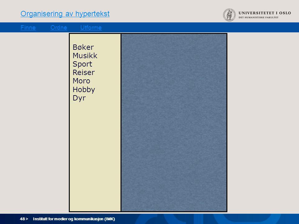 48 > Organisering av hypertekst FinneOrdneUtforme Institutt for medier og kommunikasjon (IMK) Bøker Musikk Sport Reiser Moro Hobby Dyr