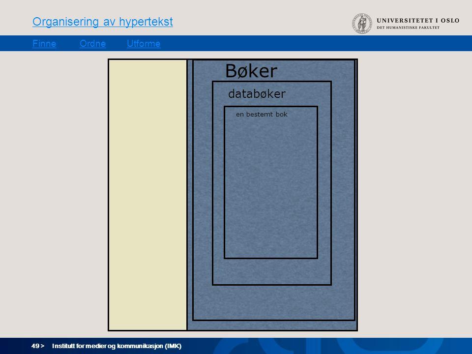 49 > Organisering av hypertekst FinneOrdneUtforme Institutt for medier og kommunikasjon (IMK) Bøker databøker en bestemt bok