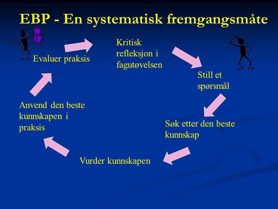 EBP - En systematisk fremgangsmåte Kritisk refleksjon i fagutøvelsen Still et spørsmål Søk etter den beste kunnskap Vurder kunnskapen Anvend den beste kunnskapen i praksis Evaluer praksis