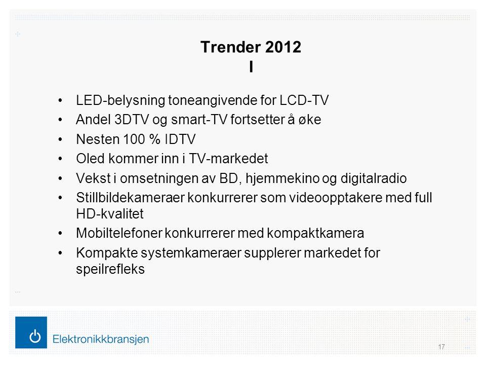 Trender 2012 I •LED-belysning toneangivende for LCD-TV •Andel 3DTV og smart-TV fortsetter å øke •Nesten 100 % IDTV •Oled kommer inn i TV-markedet •Vek