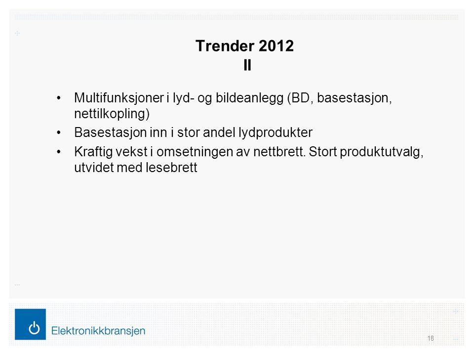 Trender 2012 II •Multifunksjoner i lyd- og bildeanlegg (BD, basestasjon, nettilkopling) •Basestasjon inn i stor andel lydprodukter •Kraftig vekst i om