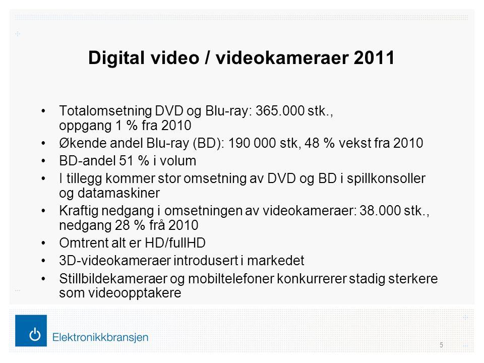 Digital video / videokameraer 2011 •Totalomsetning DVD og Blu-ray: 365.000 stk., oppgang 1 % fra 2010 •Økende andel Blu-ray (BD): 190 000 stk, 48 % ve