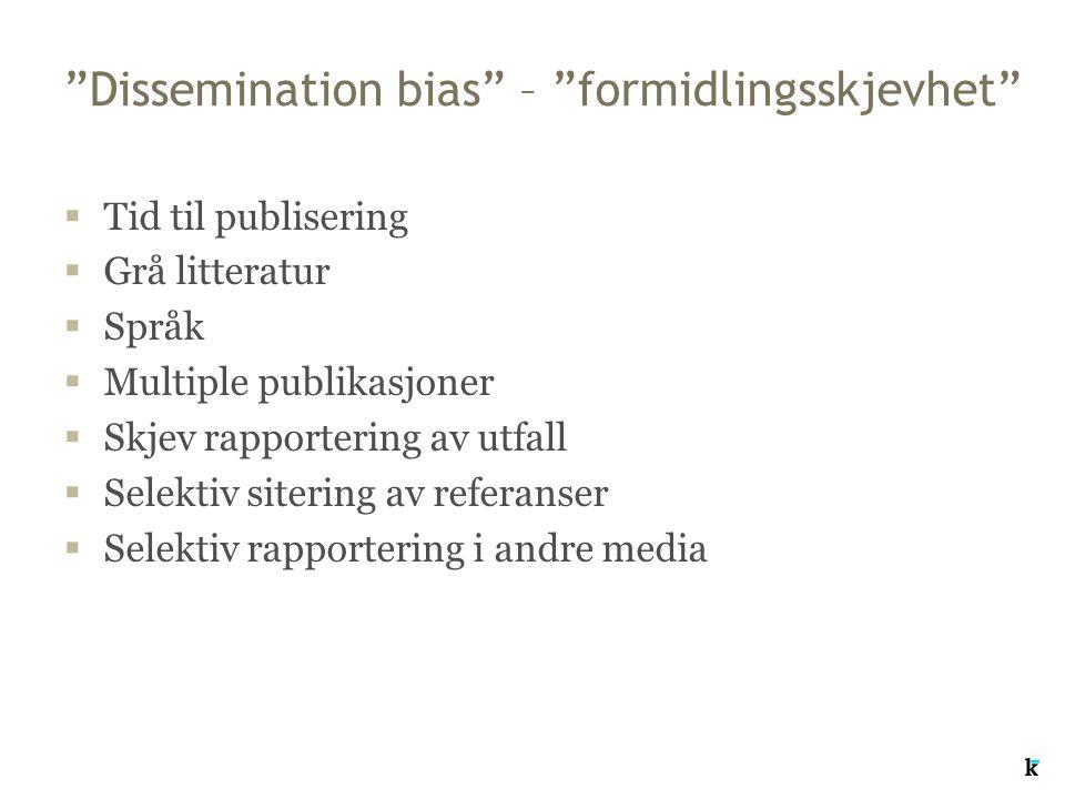 Dissemination bias – formidlingsskjevhet  Tid til publisering  Grå litteratur  Språk  Multiple publikasjoner  Skjev rapportering av utfall  Selektiv sitering av referanser  Selektiv rapportering i andre media