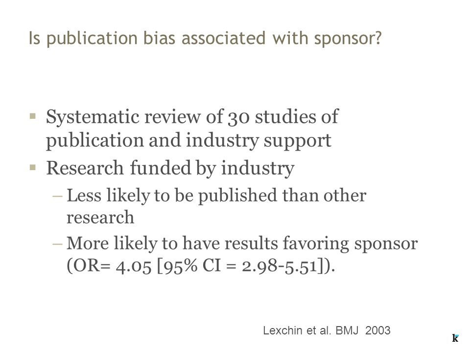 Is publication bias associated with sponsor.