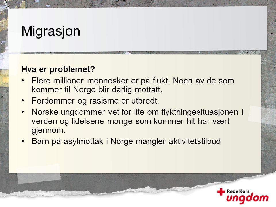 Hva er problemet? •Flere millioner mennesker er på flukt. Noen av de som kommer til Norge blir dårlig mottatt. •Fordommer og rasisme er utbredt. •Nors