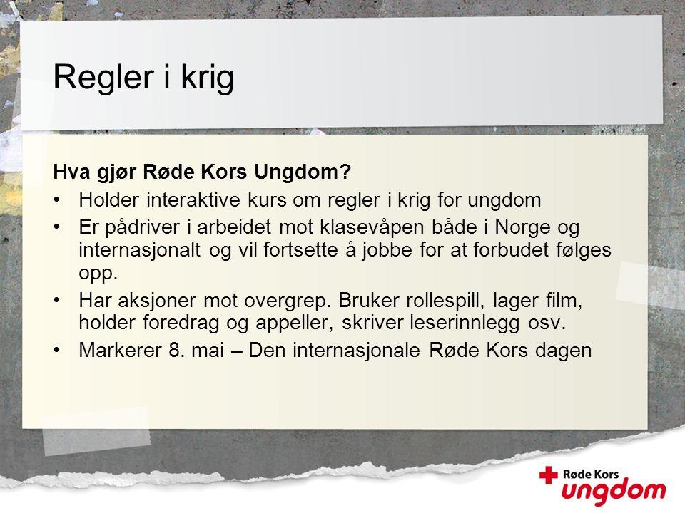 Hva gjør Røde Kors Ungdom? •Holder interaktive kurs om regler i krig for ungdom •Er pådriver i arbeidet mot klasevåpen både i Norge og internasjonalt