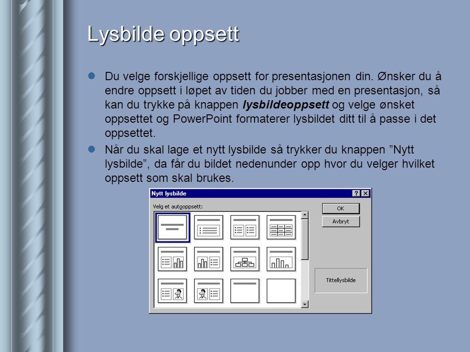 Lysbilde oppsett  Du velge forskjellige oppsett for presentasjonen din.